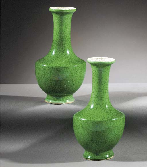 A pair of apple green glazed c
