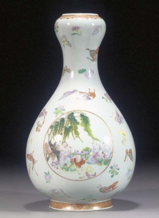 A famille rose bottle vase wit
