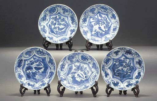 A Set of Five Kraak dishes Wan