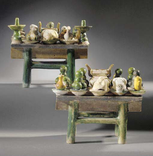 A pair of burial altar tables