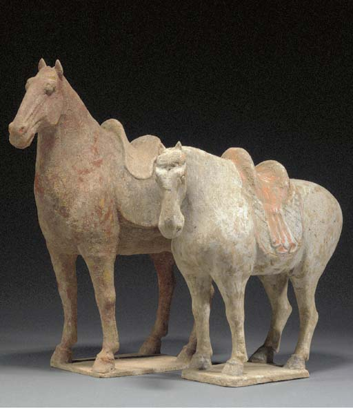 Two painted pottery models of