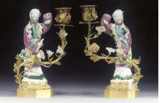 A pair of famille rose models