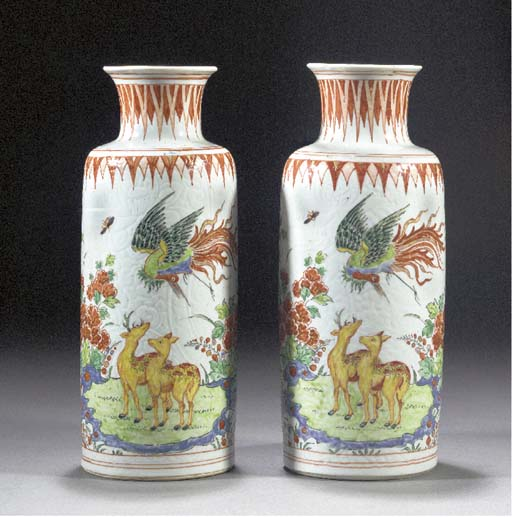 A pair of Dutch decorated cyli