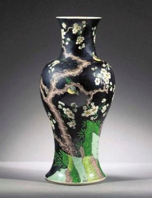 A famille noire baluster vase