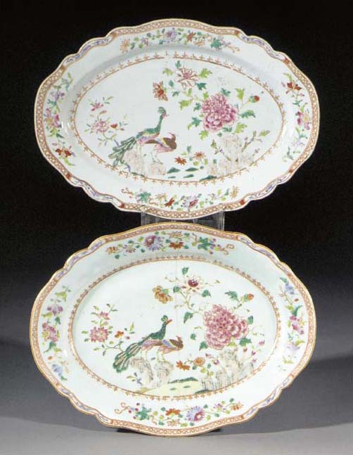 A pair of famille rose oval se