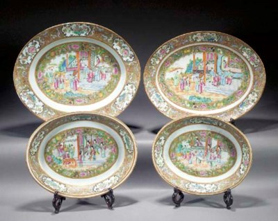 Four Cantonese oval serving di