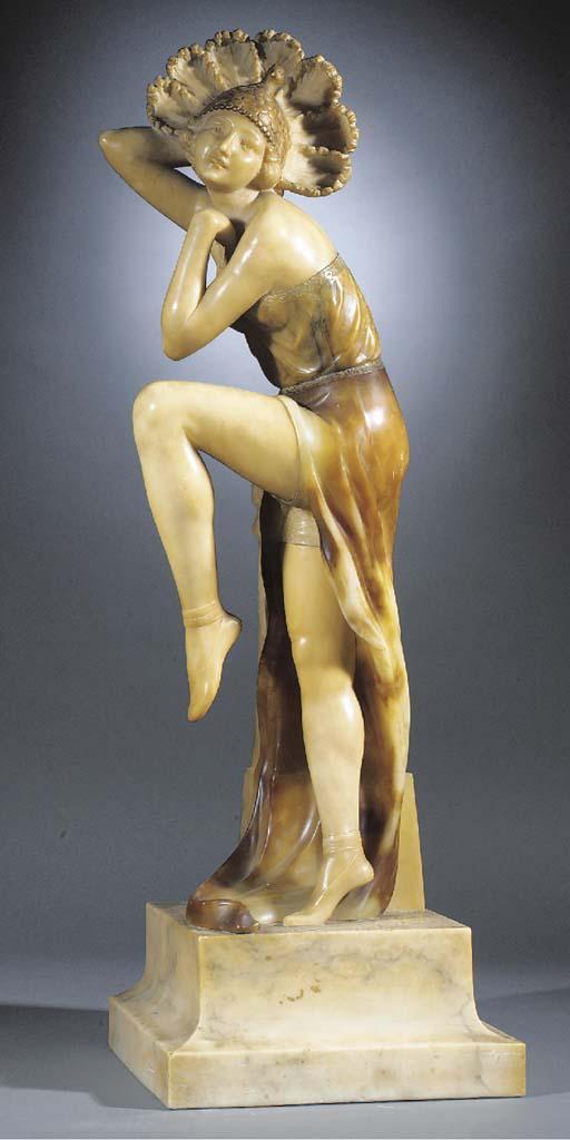 A large Art Deco alabaster fig