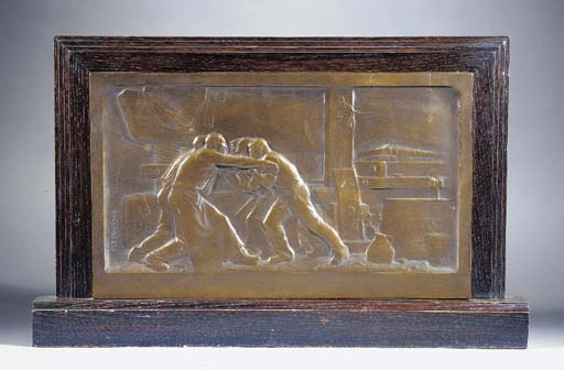 A patinated bronze bas-relief