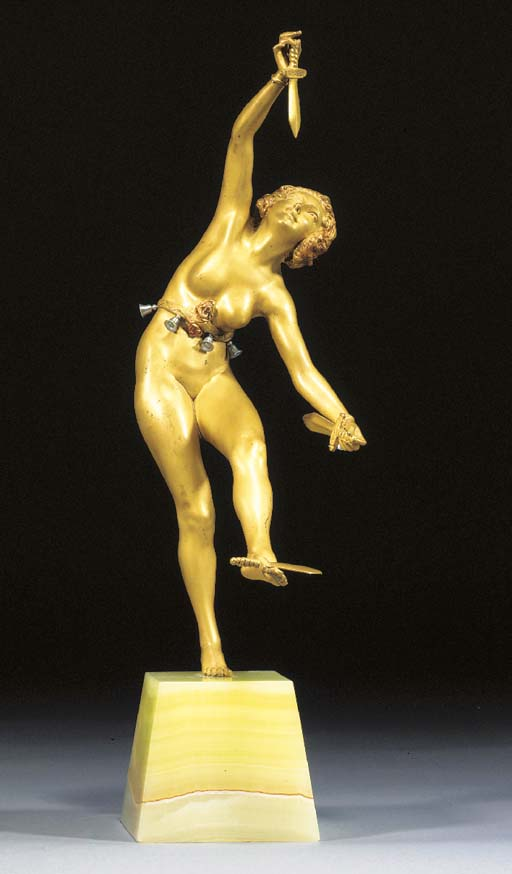 A COLD-PAINTED AND GILT BRONZE