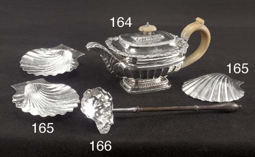 A Set of Three George II Silver Butter Shells