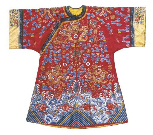 A semi-formal robe of red sati