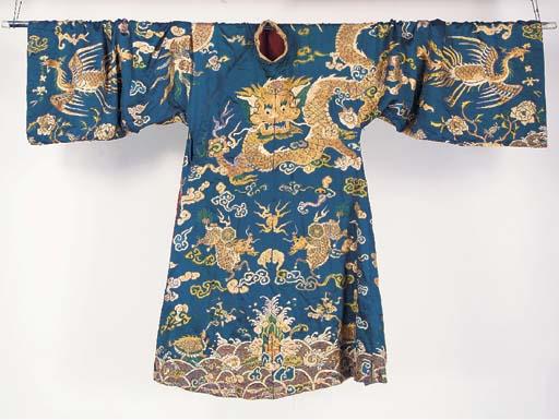 A court robe of blue silk, emb