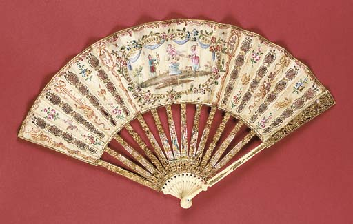 A fan, the silk leaf painted w