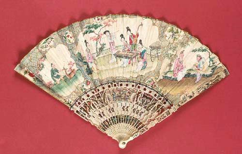 A Chinoiserie fan, the skin le