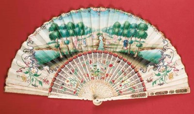 A Chinese folding fan, the rec