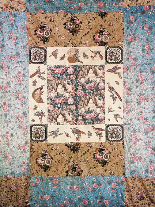A coverlet, pieced from variou