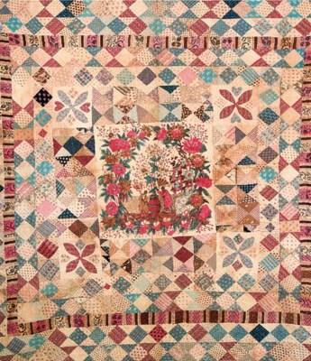 A large patchwork quilt, possi