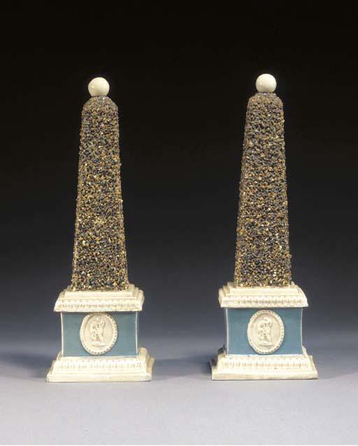 Two pearlware obelisks