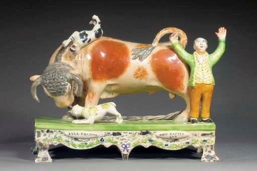 A pearlware bull-baiting table