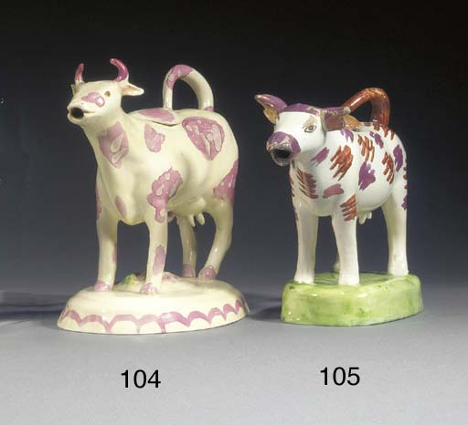 A pottery cow-creamer and a co