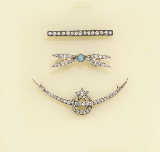 Three rose-cut diamond brooche