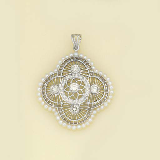 A diamond and cultured pearl p
