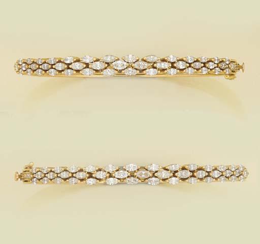 A pair of diamond bangles