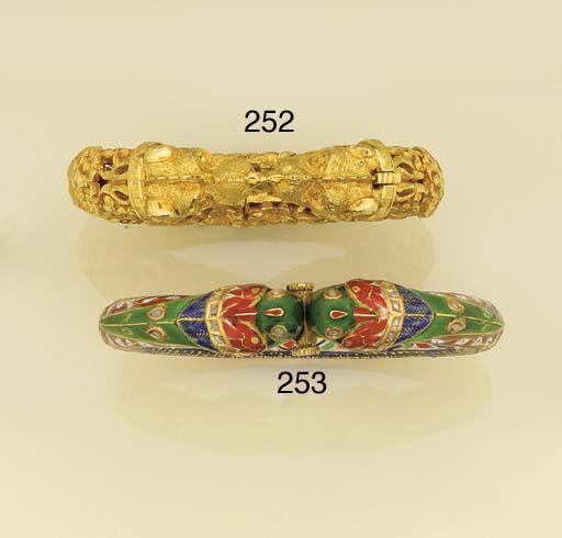 A pair of Indian Jaipur enamel