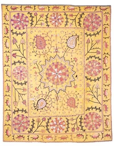 An antique silk Suzani, Uzbeki