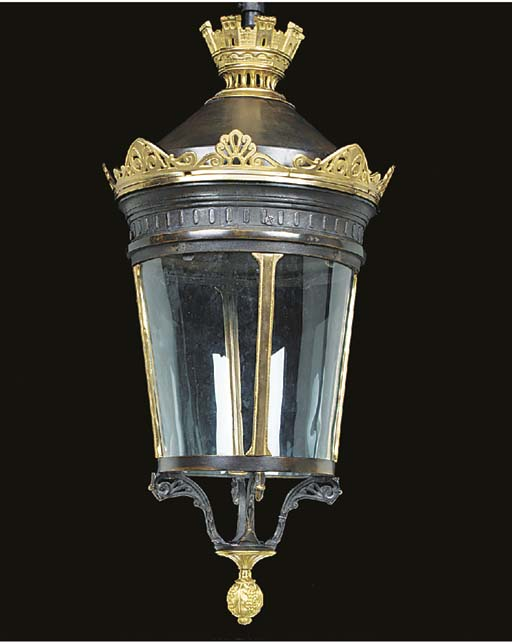 A French bronze lantern, possi