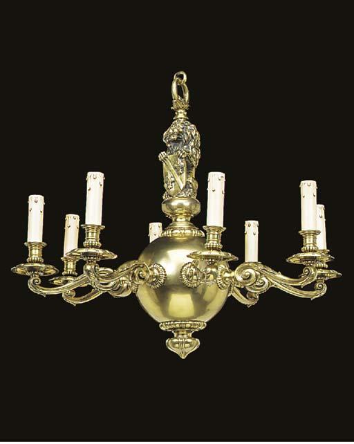 A Continental brass eight ligh