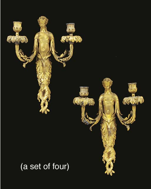 A set of four ormolu twin ligh