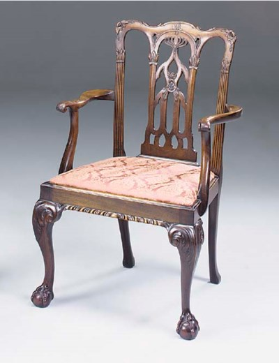 A MAHOGANY OPEN ARMCHAIR, 19TH