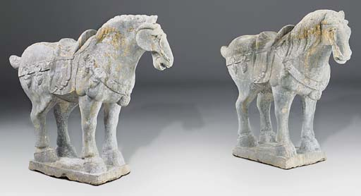 A pair of Chinese sculpted gre