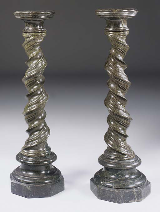A pair of Italian spiral carve