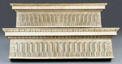 Two polychrome wood pelmets, 1