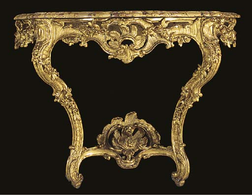 A FRENCH CARVED GILTWOOD MARBL