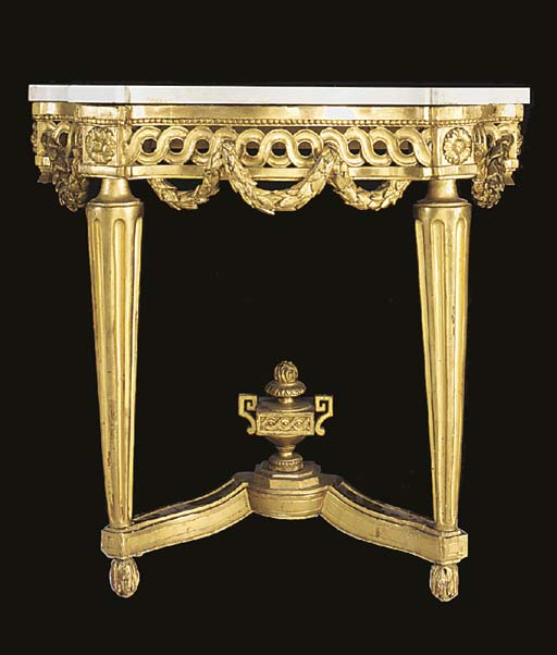 A Swedish carved giltwood marb