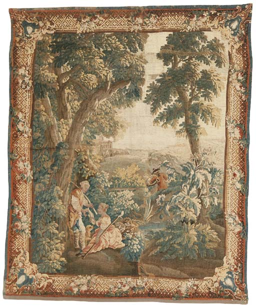 AN AUBUSSON PASTORAL TAPESTRY,