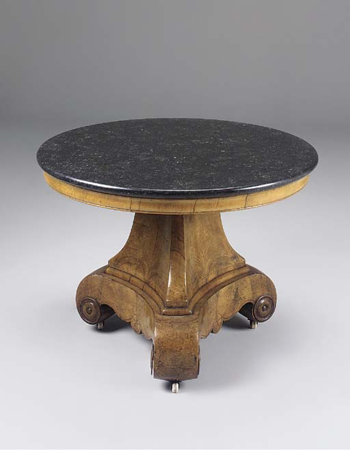 AN EMPIRE WALNUT INLAID MARBLE