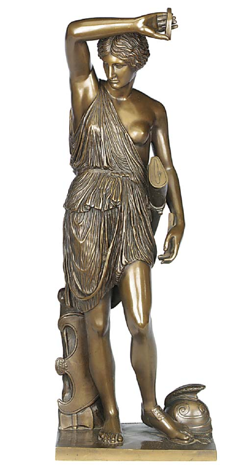 A French bronze model of Diana