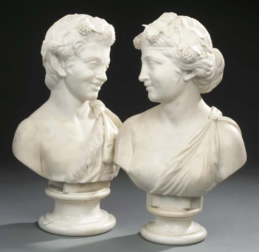 Two Italian sculpted white mar