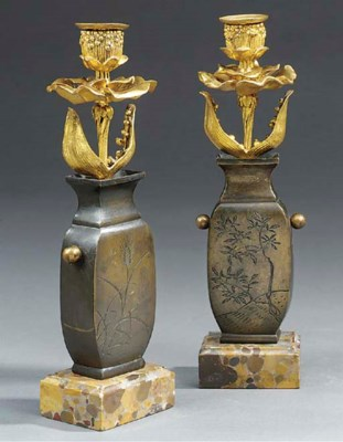 A pair of French bronze and or