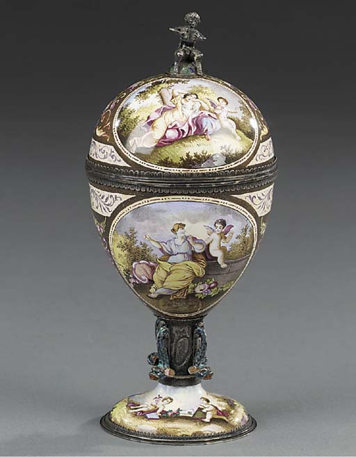 A Viennese enamelled and silve