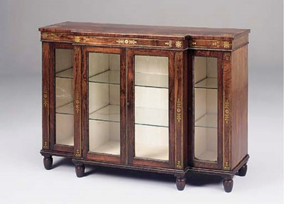 A rosewood and brass inlaid br