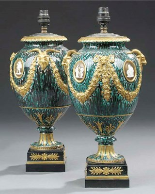 A pair of Wedgwood porphyry gl