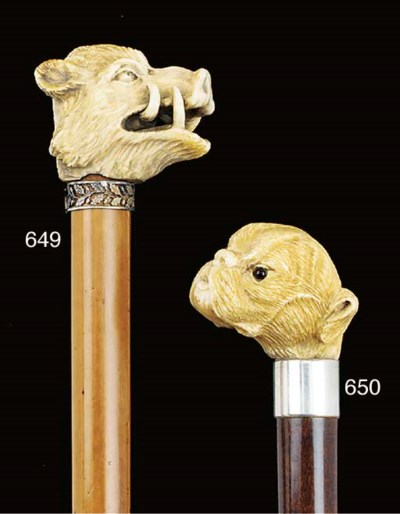 A carved ivory and snakewood w