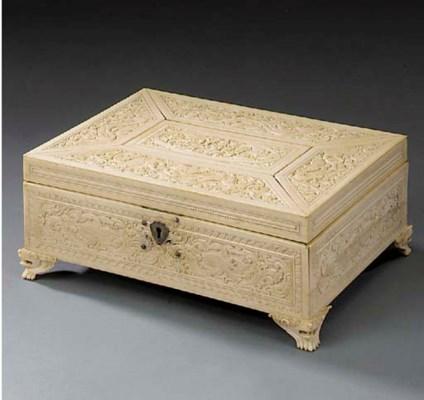 A Far Eastern ivory box, mid 1