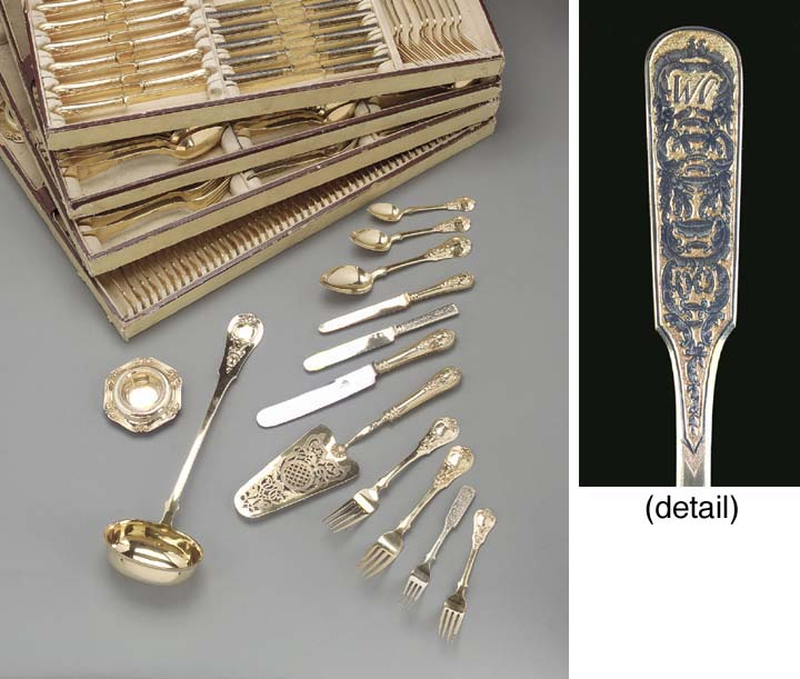 A silver-gilt and flatware ser