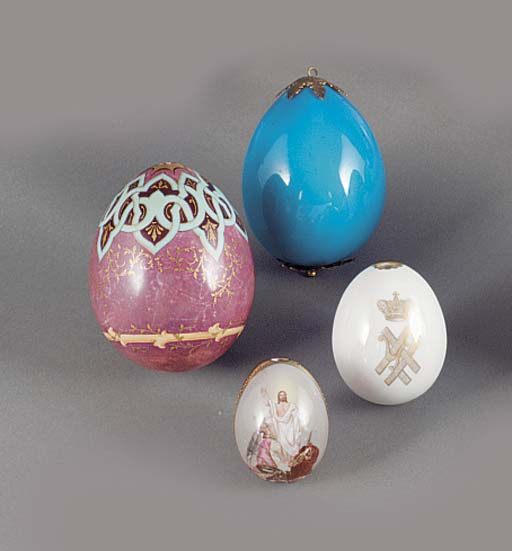 three porcelain easter eggs an